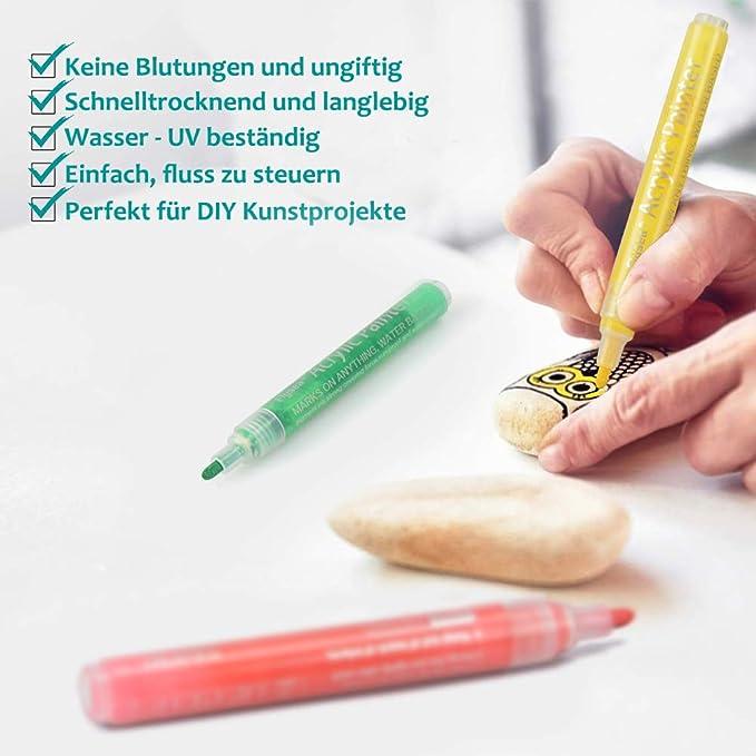 Pietra Pennarelli acrilici ad Asciugatura Rapida Legno per Carta ZOOYAUE Vetro 4,5 mm Ceramica plastica Metallo 28 Colori