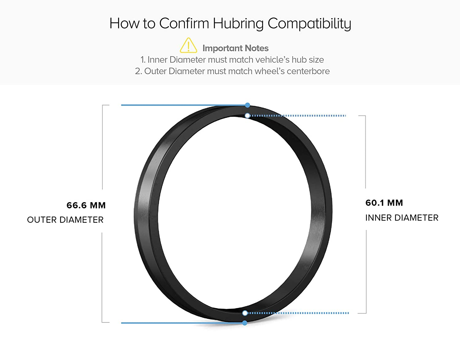 Hubcentric Rings - 60.1mm ID to 66.1mm OD Only Works on 60.1mm Vehicle Hubs /& Pack of 4 Black Poly Carbon Plastic Hubrings Hub 66.1mm Wheel Centerbore - for many Toyota /& Lexus