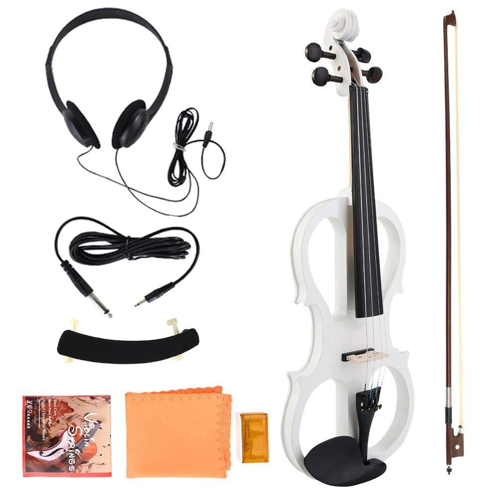 4/4 Electric Violin, Full Size Electric Wood Violin with Rosin Headphone String Musical Instrument(White)