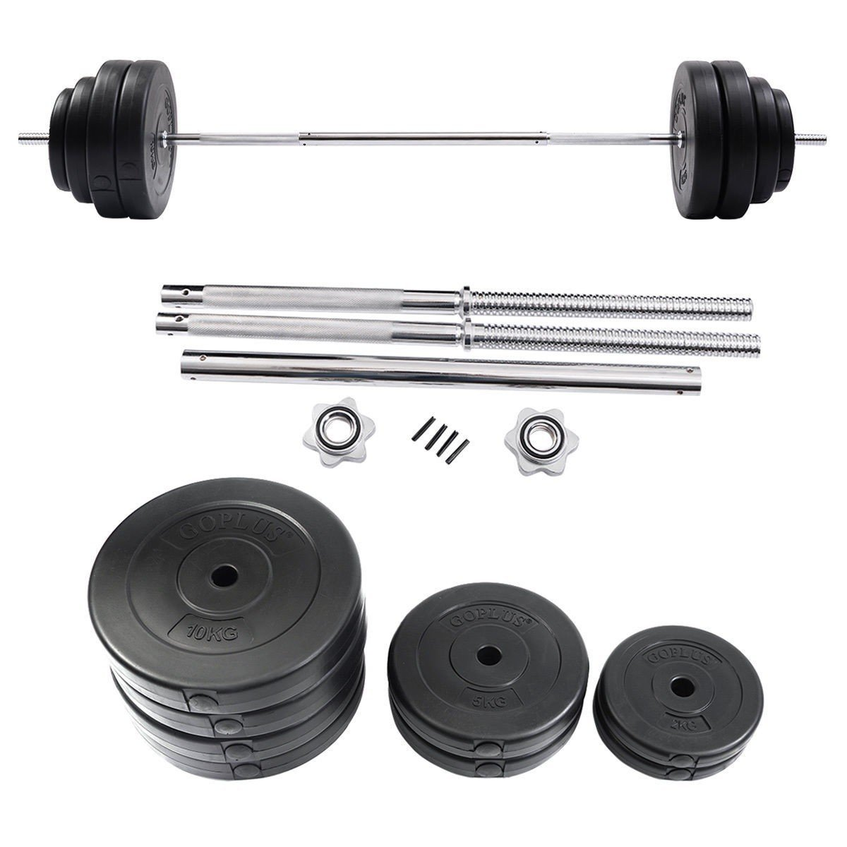 132 lbs Gym Lifting Exercise Barbell Dumbbell Set Steel Bar Polymer Weights