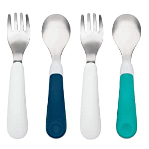 OXO TOT Training Fork and Spoon Set, Teal/Navy (2 Pack)