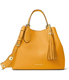 d817e67b6359 Amazon.com  Michael Kors Brooklyn Small Leather Grab Bag Satchel in ...