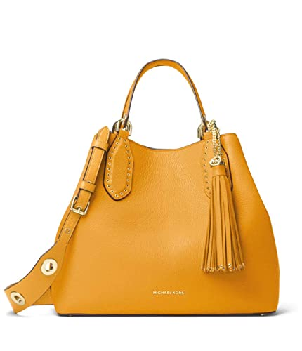 83dc6ace492755 Amazon.com: MICHAEL Michael Kors Brooklyn Large Leather Satchel in  Marigold: Shoes