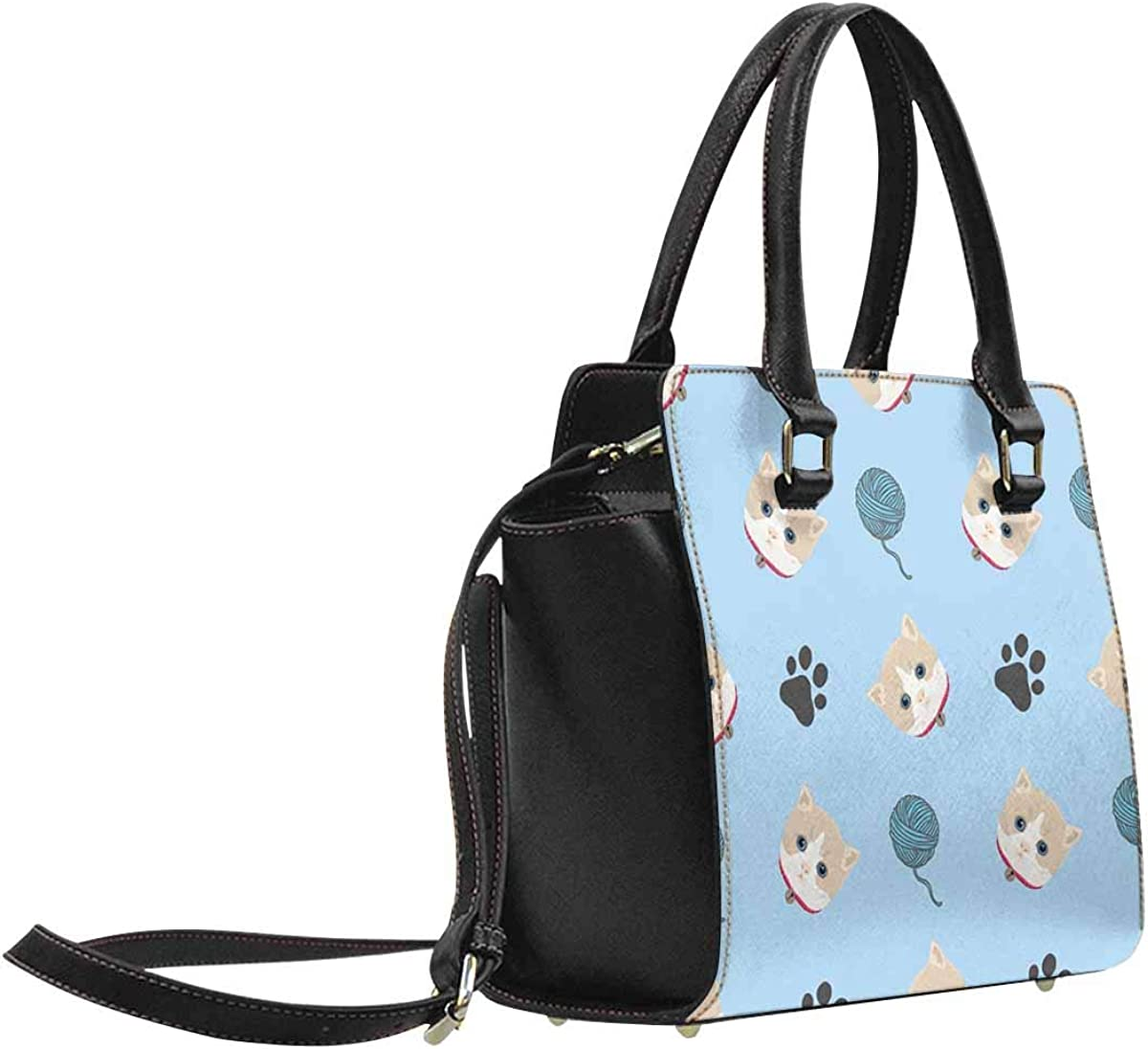 INTERESTPRINT Baby Kitten Cat with Yarn Ball and Footprint Large Capacity PU Leather Handbag Shoulder Bag