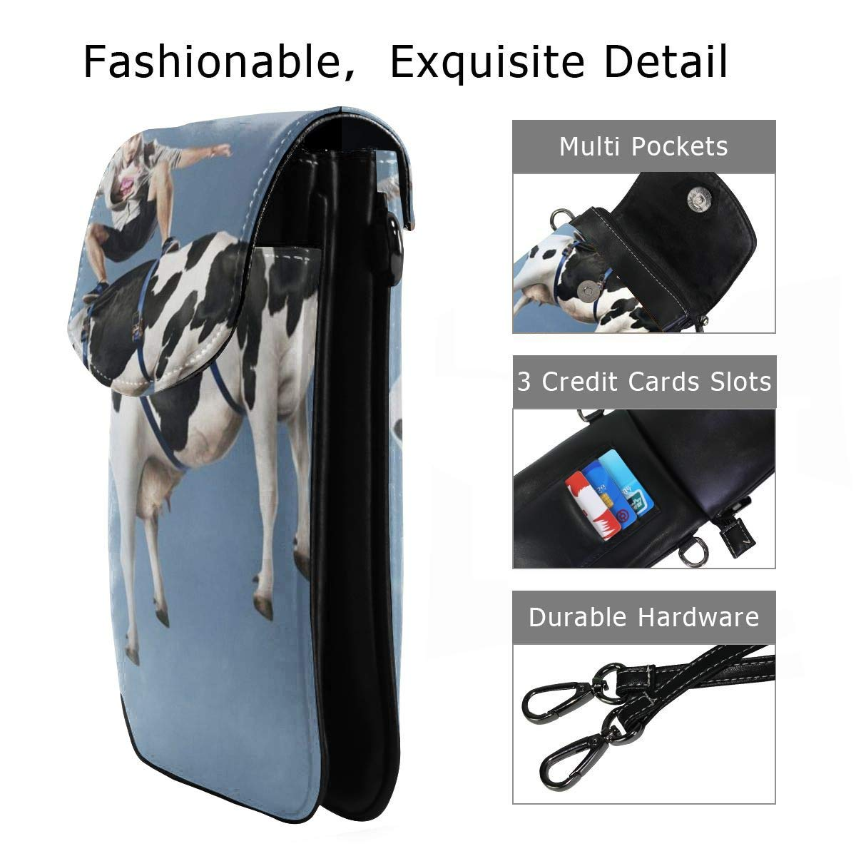 Funny Flying Cattle Cow Girls Small Credit Card Shoulder Handbag Coin Purse V5DGFJH.B Womens Crossbody Cell Phone Bags