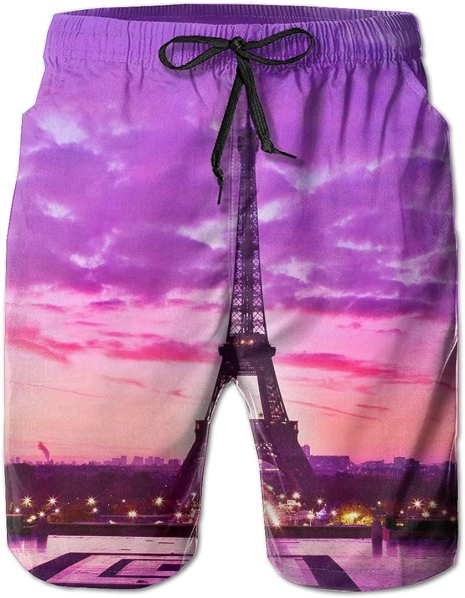Purple Eiffel Tower Beach Shorts Simple Mens Beach Pants Adults Surf Board Trunks Home Leisure Trousers