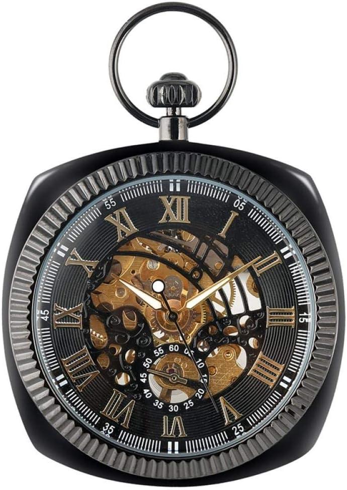 Zakhorloges Voor Meisjes Handopwinding Mechanisch Zakhorloge Vierkante Horloges Heren Ronde Slangketting Hanger Klok Cadeau Black 1