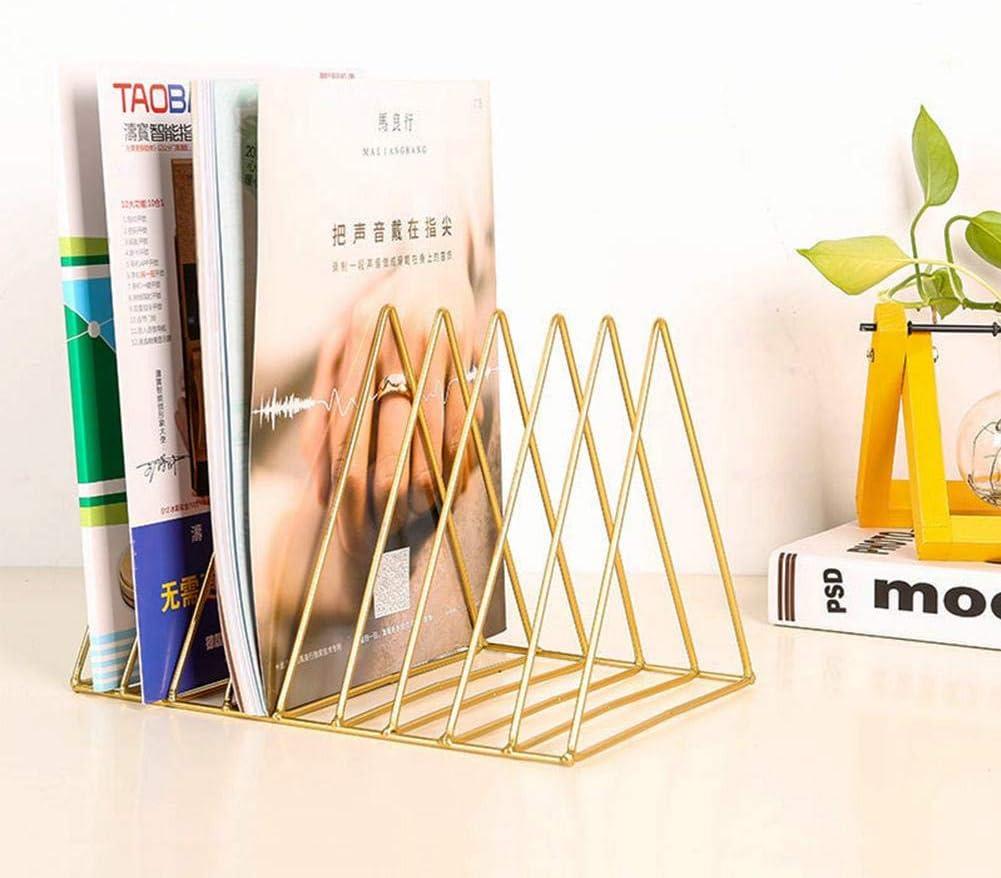 Multifunctional Iron Triangle Desktop Bookshelf Eco-Friendly Multi-Slots Organizers Books Magazines Rack Holder Books Holder Stand for Home Study or Office Small Bookshelf White