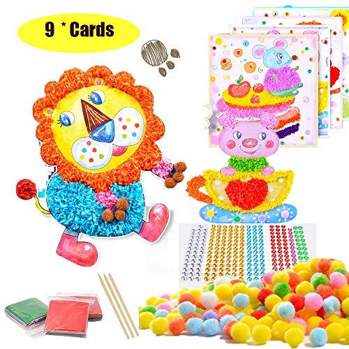 (Kids Tissue Paper Sticker Art Kit - DIY Mosaic Pompoms Paper Crafts Art Project Toys for Preschool Kids)