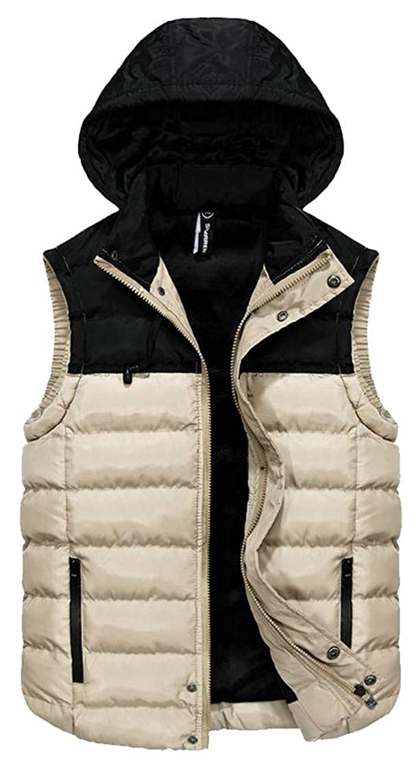 Pandapang Mens Quilted Warm Sleeveless Hooded Contrast Color Jacket Down Vest