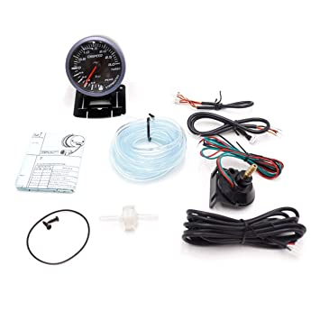 CNSPEED 12 V Auto Car LED Digital Bar Turbo Boost Gauge Meter 60mm Lente de Humo