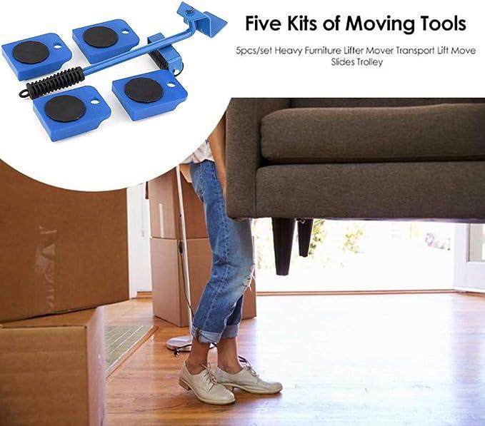 5pcs//Set Furniture Lifting Roller-Moving Tool Heavy Transport Wheel Slider