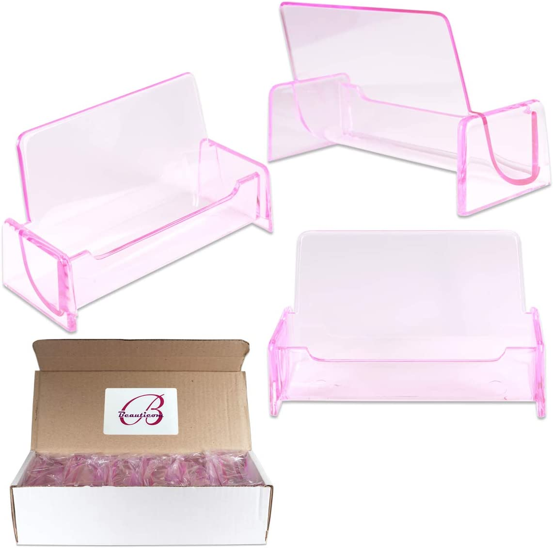Beauticom 12 Pieces - Clear Color Plastic Business Card Holder Display Desktop Countertop (Style # 3) (Clear Pink)