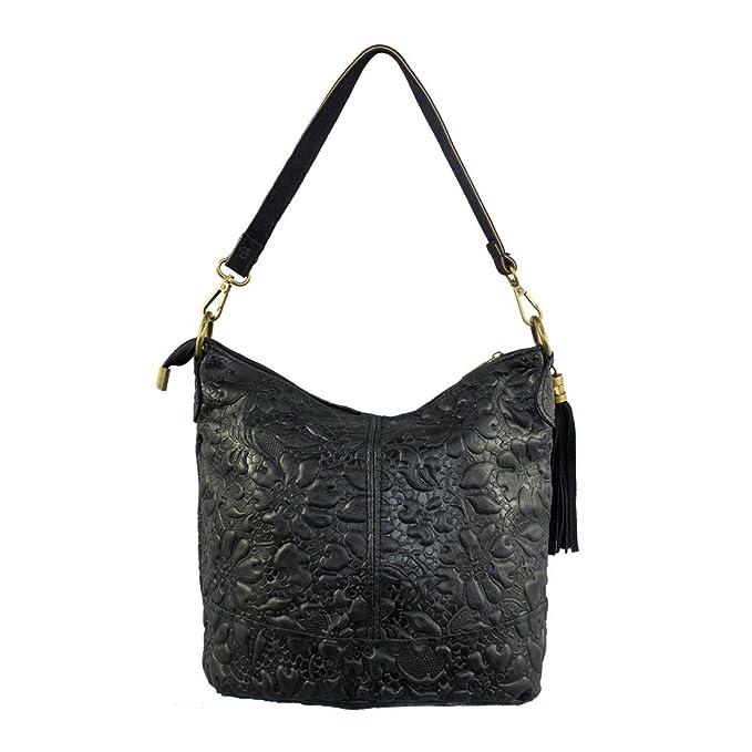 76553ff57 COSIMA LEONE - Bolso de hombro de mujer estilo cubo. Modelo SERENA.  Auténtica piel