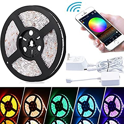 Led Strip Lights Wifi Wireless Controlled Waterproof LED Lights, 16.4ft 300leds 5050 Light Strips Kit, Android and iOS systems compatible, Works with Alexa