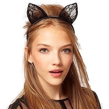 HALLOWEEN//COSPLAY//FANCY DRESS//PARTY! CAT EARS HAIRBAND//HEADBAND BLACK LACE
