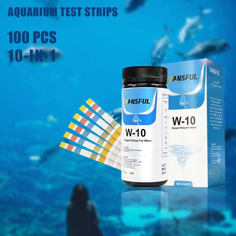 Yueeng 10-in-1 Aquarium Test Strips, 100 Count for Fresh/Salt Water Quality Testing, Water Chemistry PH Tester by Yueeng
