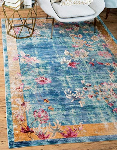 Unique Loom Austin Collection Over-Dyed Floral Vintage Border Blue Area Rug 10 0 x 13 0