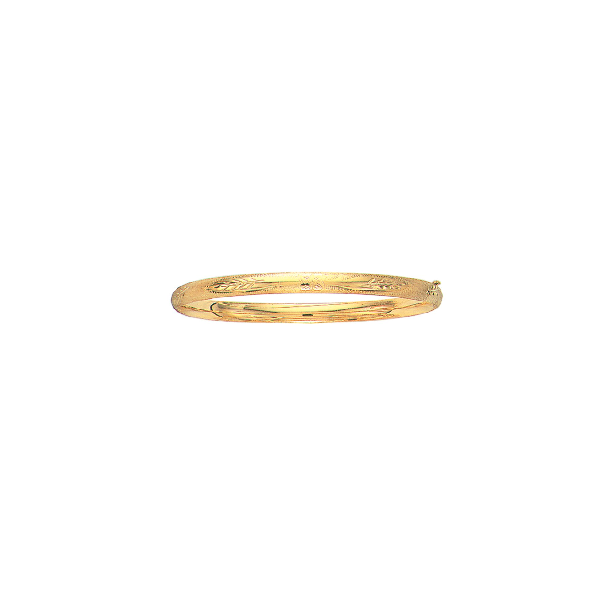 14K Yellow Solid Gold Florentine Round Dome Classic 5mm Wide Bangle 8'' Bracelet Flower Pattern with Clasp