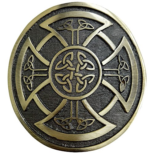 Round Celtic Knot Kilt Belt Buckle/Highland Belt Buckle Celtic Antique/Chrome (Antique)