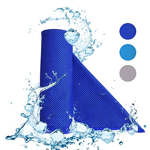 KAMIER Cooling Towel for Sports Instant Cooling Relief, Quick Dry, Staying Cool for Gym, Workout, Outdoor Sports, Running, Yoga, Golf, Pilates, Fitness, Camping Chilling Towel (Dark blue)