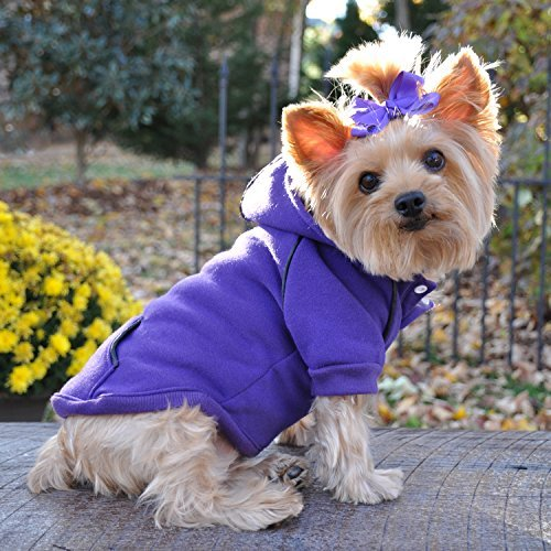 - FLEECE LINED DOG PET HOODIE ★ HEAVYWEIGHT EMBROIDERED SWEATSHIRT ★ PURPLE ★ ALL SIZES (Small)