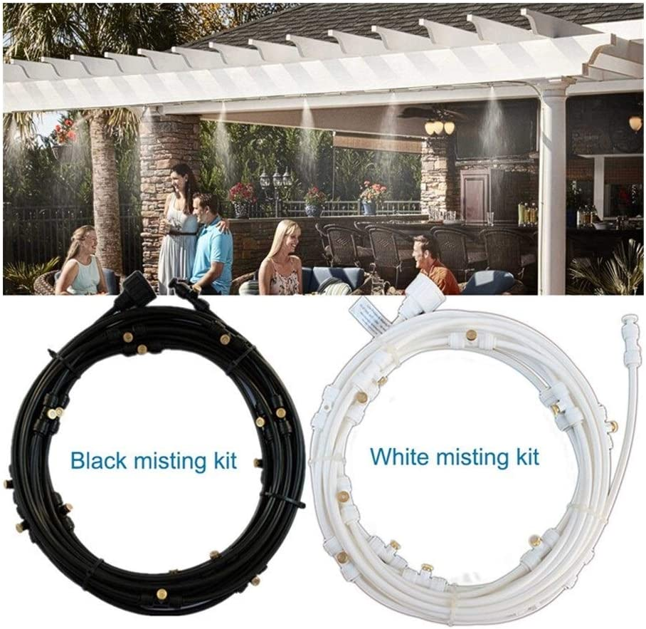 JYSLI Drips 30m with 15pcs nozzles Water Misting Cooling System Kit summer Sprinkler brass Nozzle Outdoor Garden Greenhouse park Plants resist (Color : 30m black) 30m White