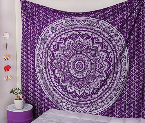 Popular Handicrafts Ombre Silver Tapestry Mandala Tapestries Wall Art Hippie Wall Hanging Bohemian Bedspread with Metallic Shine Tapestries 84x54 Inches Purple