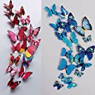 24 Pcs 3D Butterfly Wall Stickers Art Decor Decals(12Pcs Blue + 12Pcs Rose Red)