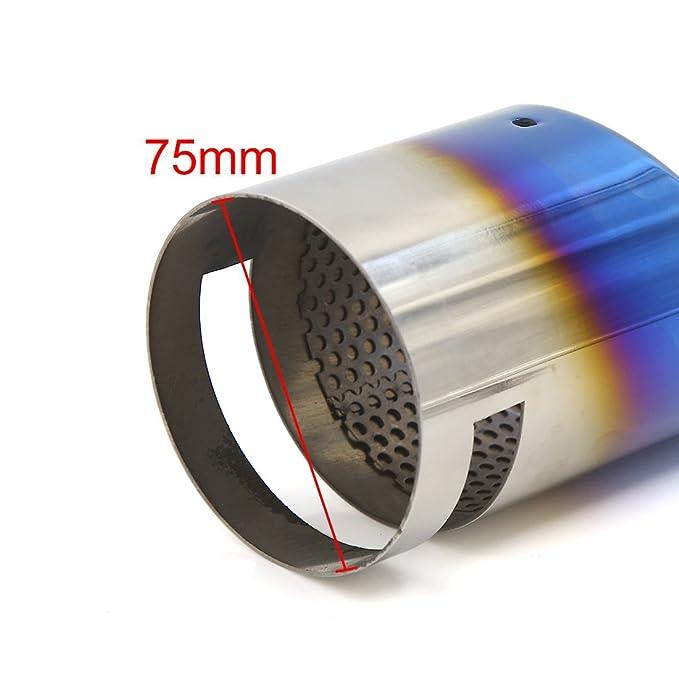 Amazon.com: eDealMax Universal DE 75 mm de entrada bisel de soldadura Outlet Consejo de coches Auto cola del silenciador del Extractor de tuberías: ...