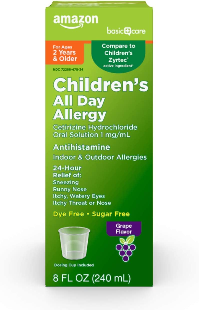 Basic Care Children's All Day Allergy, Cetirizine Hydrochloride Oral Solution 1 mg/mL, Grape Flavor, 8 Fluid Ounces: Health & Personal Care
