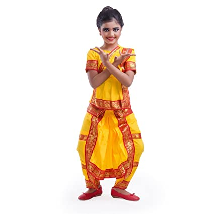 4bdfefd4a90d1 Buy Fancydresswale Yellow Bharatanatyam Dress with Complete Jewellery Combo  - Set of 10 Ornaments and Dance Costume (12-14 Years) Online at Low Prices  in ...