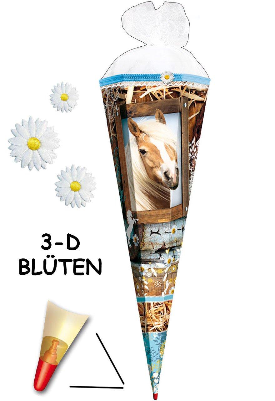 passend f/ür Schult/üte 35 // 50 // 70 // 85 cm Roth Schleife rund oder eckig Zuckert/üte ALLE Gr/ö/ßen mit // oh.. Pferd /& Margeriten alles-meine.de GmbH personalisierte 3D B/änder