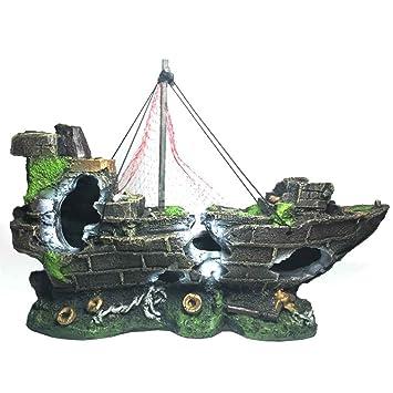 Laileya Restos Decorativa Mallas Barco Pescado del Acuario del Tanque Paisaje Submarino decoración del Ornamento: Amazon.es: Hogar