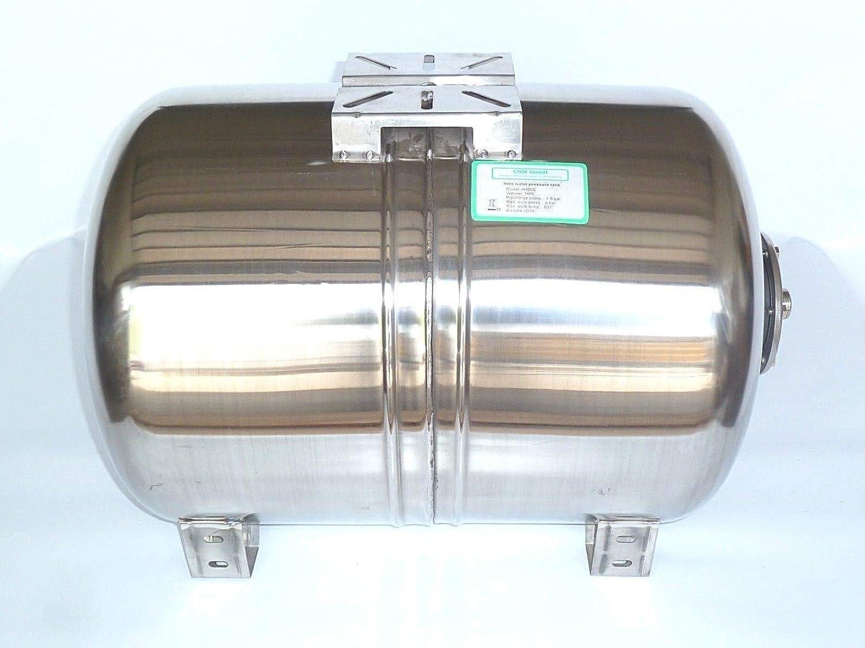 Druck- und Dichtheitspr/üfung nach EN Normen !! Membrankessel f/ür Hauswasserwerk aus poliertem Edelstahl u Druck 8 bar. Max 100 Liter Druckkessel EPDM Membran