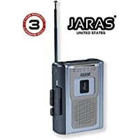 Jaras Limited Edition Portable AM/FM Radio Personal Cassette Player Compact Lightweight Design Stereo AM/FM Radio Cassette Player/Recorder & Built in Speakers