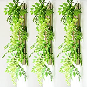 Artificial Flowers 3 Pcs 6.6ft Wisteria Garland Ivy Vine Silk Hanging Plants for Wedding Arrangements Outdoors Decorations Home Garden Party Decor Simulation Flower 3