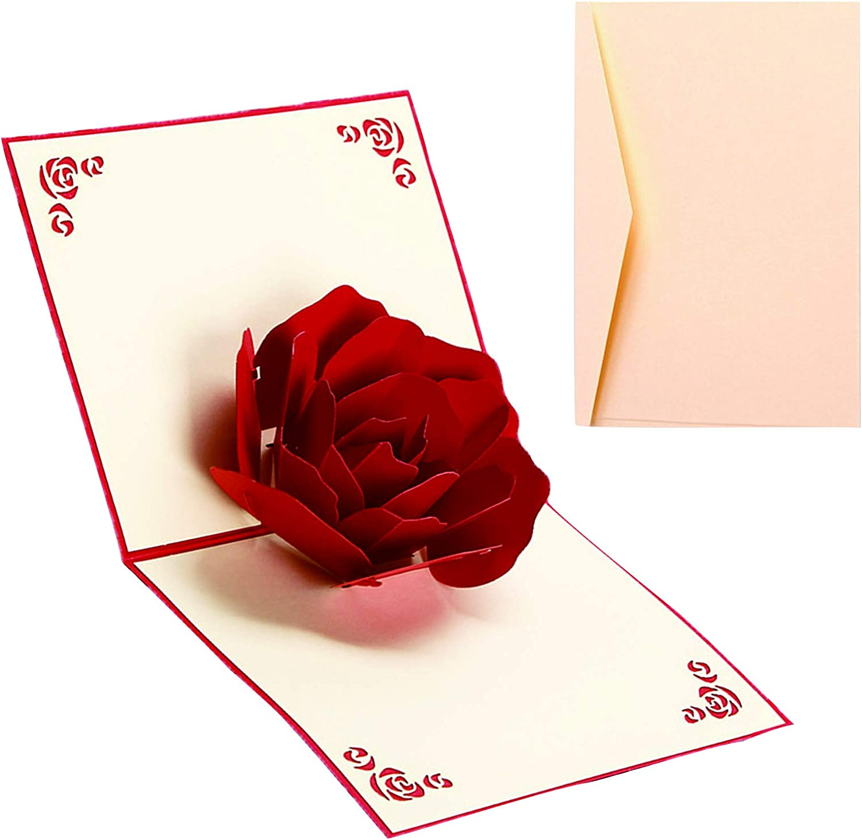 Tarjeta de Felicitación Rosa Emergente 3D Tarjeta de Felicitación 3D de Boda Aniversario Rosa Tarjeta de San Valentín Rosa 3D para San Valentín Aniversario Pareja Novio Novia Padre Madre Hijo Hija
