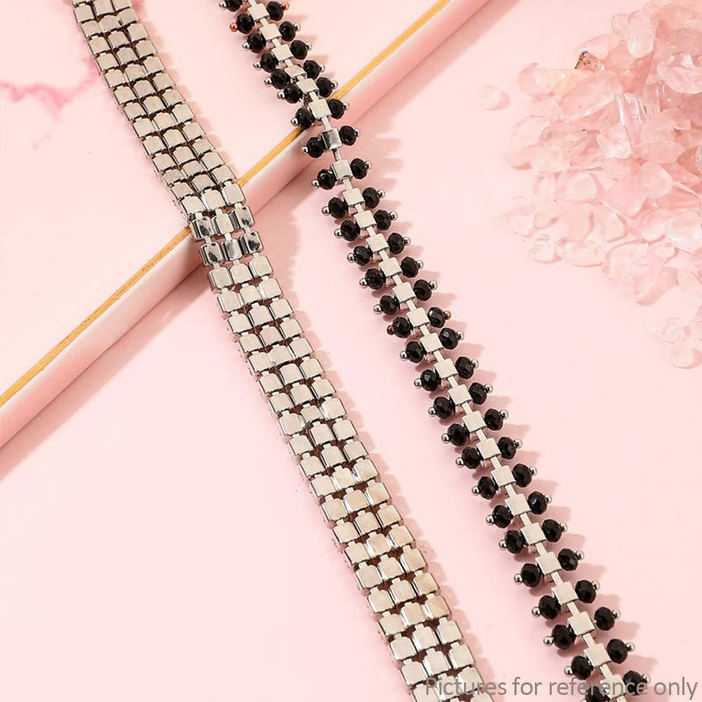 1 Pair Women Double Row Silver Sparkle Rhinestone Stars Adjustable Replacement Ladies Fashion Straps Underwear Accessories KINLOU Diamante Bra Straps