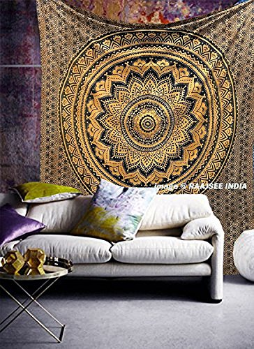 220 x 230 cms Tapestry Black Gold Ombre Indian Mandala Wall Hanging Art Hippy Boho Queen Size Bedding Bedspread Bohemian Ethnic Traditional Home Decor Beach Throw By (220 Art)
