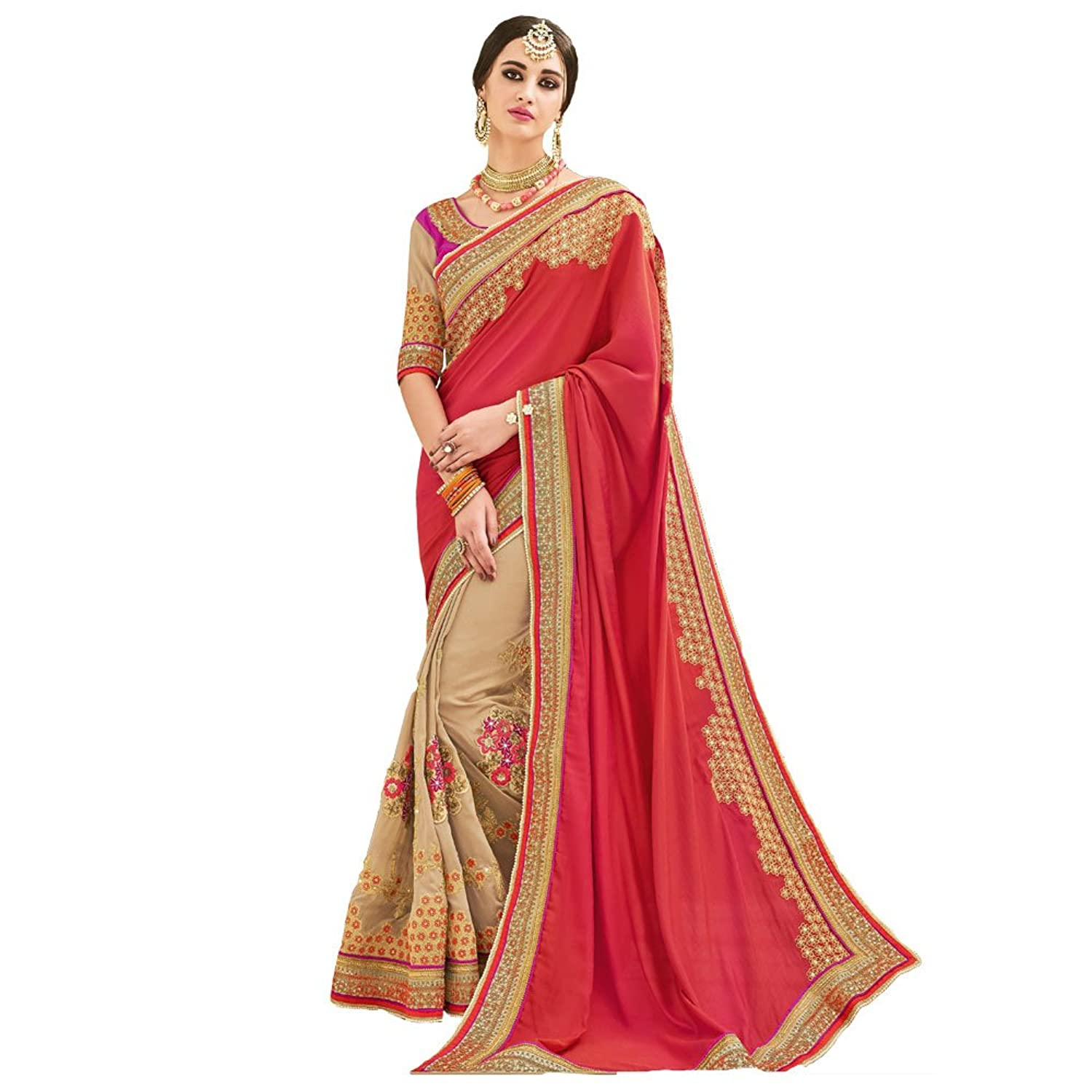 Shree Designer Sarees Women's Tiptop Hot Pink Embroidered Designer Saree