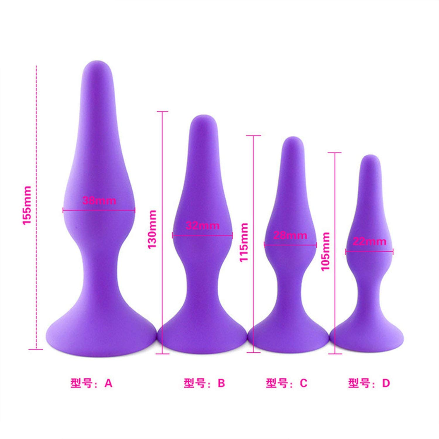 Dervn Bütt Tail Plug  Full Silicone Anál Plug 4 Pcs/Set Bütt Plug M-assage Sêxv-Toys Men Gày Ass Plug with Strong Sucker A^nu's Ex-pansion,Purple