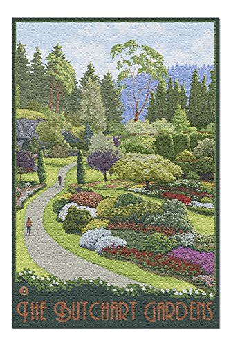 Butchart Gardens Framed (Brentwood Bay, Canada - Butchart Gardens (20x30 Premium 1000 Piece Jigsaw Puzzle, Made in USA!))