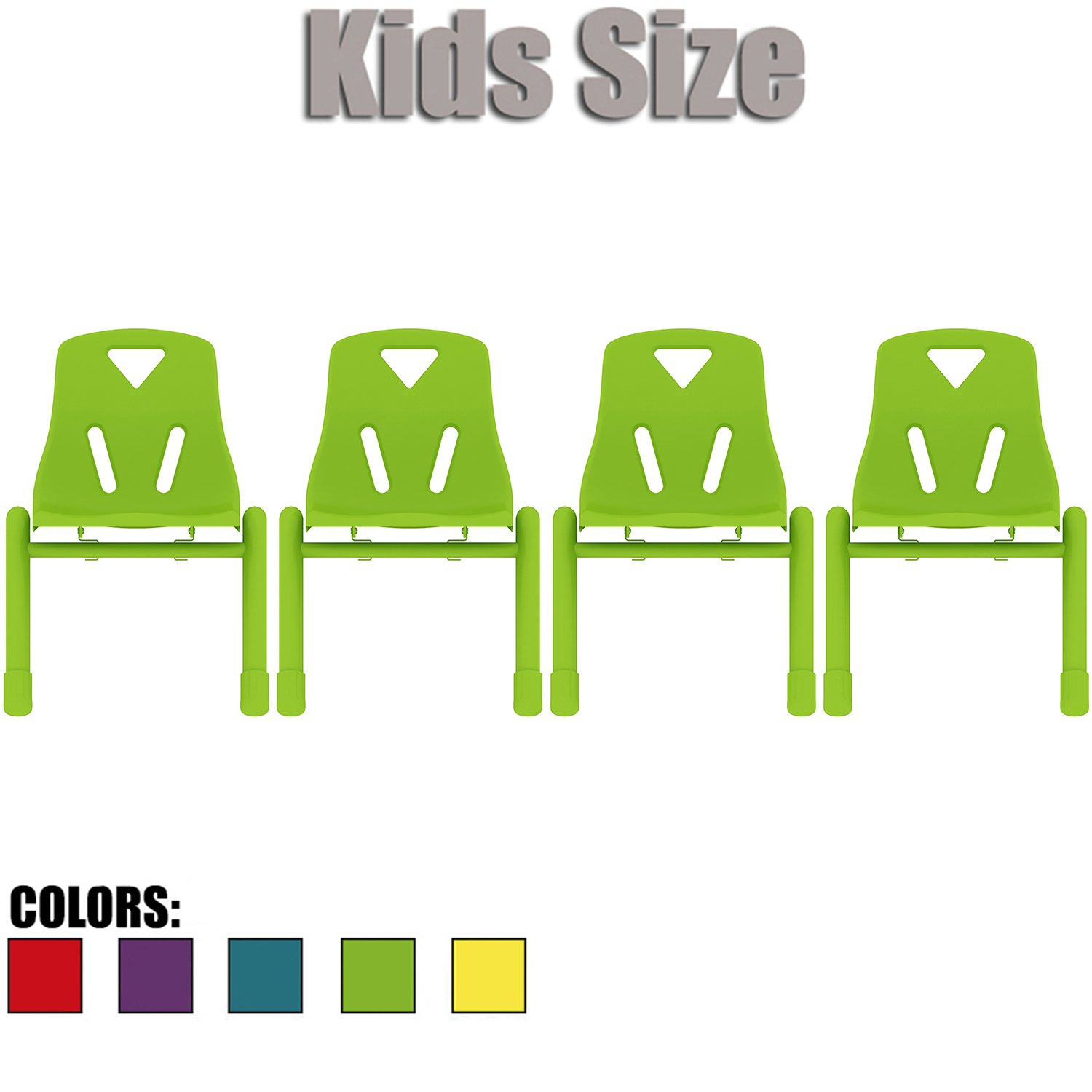 2xhome - Set of Four (4) - Green - Kids Size Plastic Side Chair 12'' Seat Height Green Childs Chair Childrens Room School Chairs No Arm Arms Armless Molded Plastic Seat with Coated Metal Legs Stackable