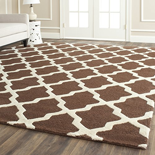 Safavieh Cambridge Collection CAM121H Handcrafted Moroccan Geometric Dark Brown and Ivory Premium Wool Area Rug (9' x 12') - Dark Brown Wool Rug