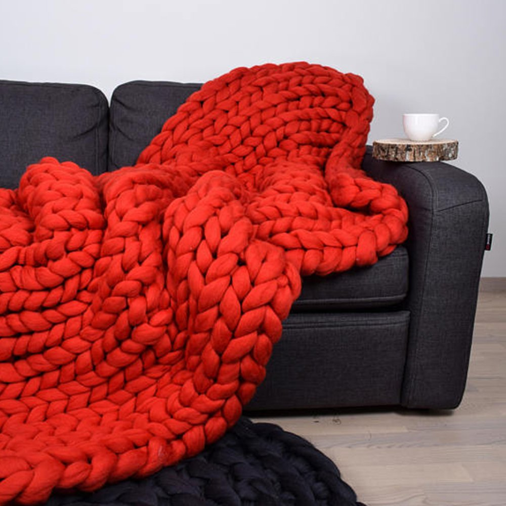 Red Super Chunky Knit Blanket Merino Wool Blanket 59x71in Handmade Throw Extreme Knitting Chunky Blanket Super Bulky Yarn Throw by Clisil (Image #4)