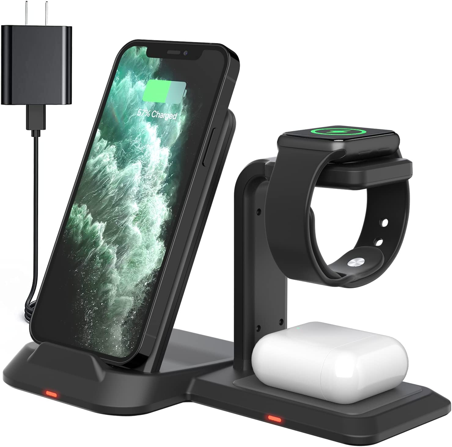 Wireless Charger Stand, GEEKERA 3 in 1 Wireless Charging Station for Apple Products Fast Wireless Charger for iWatch 6/SE/5/4/3/2, Airpods Pro/2, iPhone 12/12 Pro/11 Series/XS Max/XR/XS/X/8/8 Plus