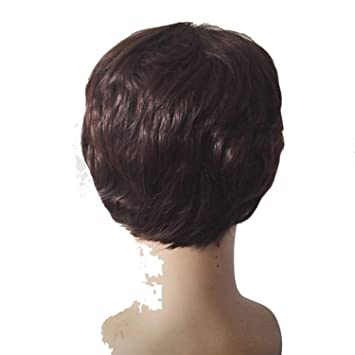 Amazon Com Short Wig Synthetic Heat Resistant Fiber Wavy Hair Male