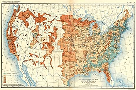 Amazoncom USA Predominating Sex Of US At Th Census - Vintage map of us