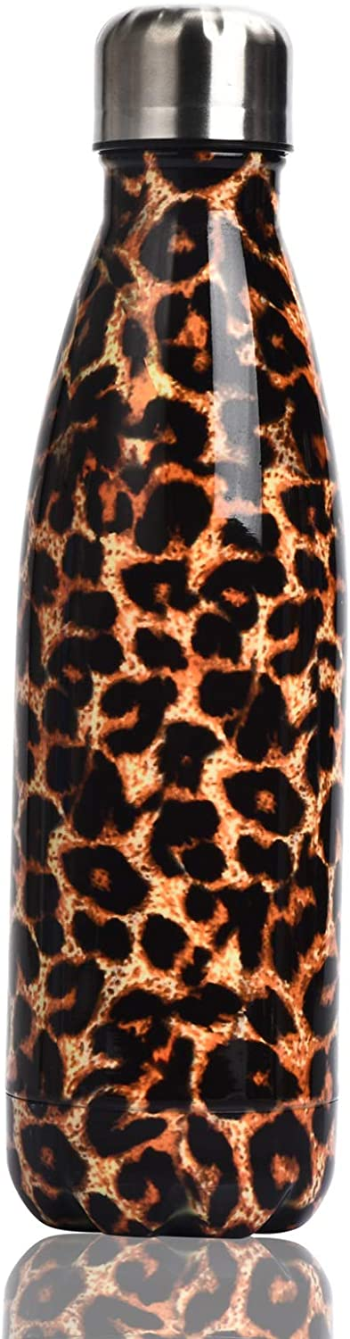 LUODA 17 Oz Stainless Steel Vacuum Insulated Water Bottle - Double Walled Cola Shape Thermos - 24 Hours Cold, 12 Hours Hot - Reusable Metal Water Bottle - Leak-Proof Sports Flask (Leopard)